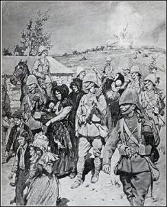Vrou en kinders oppad na konsentrasie kamp terwyl plaashuis brand